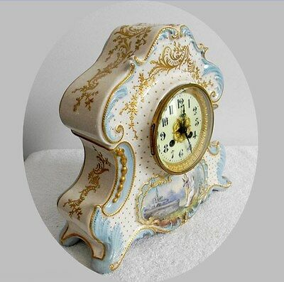 France Vintage Porcelain Clock With Gold And Victorian Scene - Free Shipping