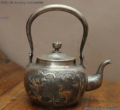 Jepan Pure Silver Bamboo Orchid Red-crowned Crane Water Bottle Teapot Teakettle