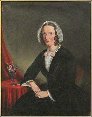 Beautiful Original 19th C Portrait Painting Of A Lady