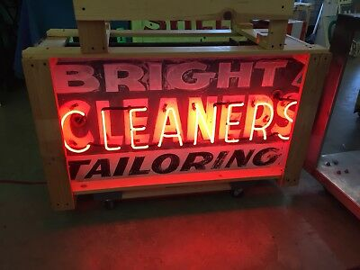 Double-sided Neon Cleaners Tin Painted Sign , Gas And Oil, Porcelain