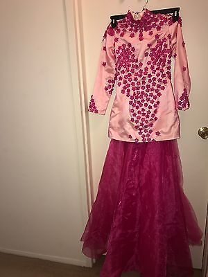 Chinese Geisha Dress Pink Mesh Floral 3/4-sleeve Unknown Brand/size/material New