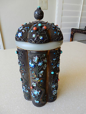 Antique Chinese Filigree Gilt Silver With Jade Neck Ring Enameled Tea Caddy Jar