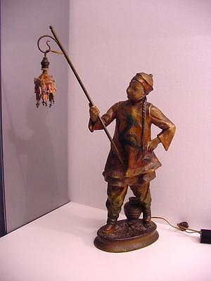 Rare Antique Earthenware Statue Of A Chinese Lantern Carrier