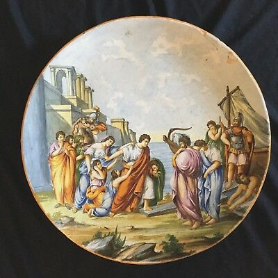 18 Century Italian Majolica Hand Painted Charger,huge, Renaissance Decoration.