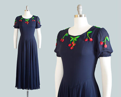 Vintage 1970s Valentino Dress 70s Cherries Navy Blue Chiffon Maxi Party Gown
