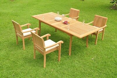 "Napa A-grade Teak 5pc Dining 94"" Rectangle Table 4 Stacking Arm Chair Set New"