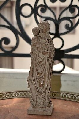 Antique Wooden Statue Shrine Virgin Mary Jesus Child Handmade Carved