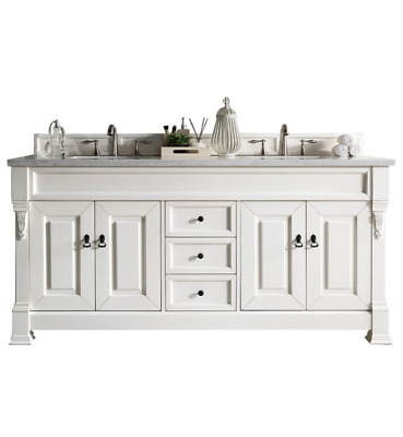"""james martin brookfield 72"""" double bathroom vanity in cottage white finish"""