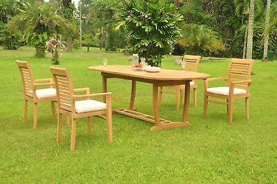 A-grade Teak 5pc Dining 94 Mas Oval Trestle Leg Table Mas Stacking Arm Chair Set