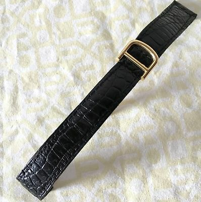 piaget 18kt yellow gold vintage deployment buckle and croco strap 100% genuine