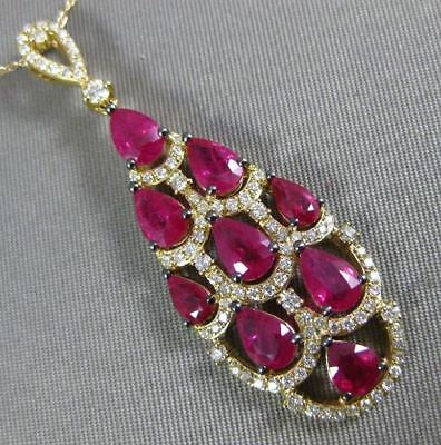 estate 3.78ct diamond and aaa ruby 14kt yellow gold 3d tear drop journey pendant