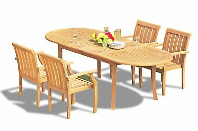 "A-grade Teak 5pc Dining 94"" Oval Table 4 Somerset Stacking Arm Chair Set Outdoor"
