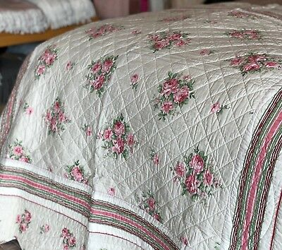 Luxury 100% Cotton Linen Pink Floral Throw Large Quilted Bedspread Embroidered