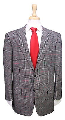 Kiton  Recent Gray/black/red Plaid 100% Cashmere 2-btn Luxury Suit 40r