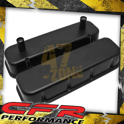 Al 1965-95 Chevy Bb Racing Valve Covers Powder Coated - Matte Black (w/tubes)