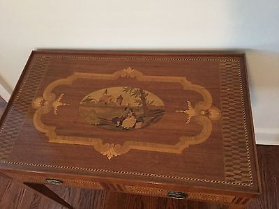 Very Unique Rare Antique Inlaid Regency Game Table