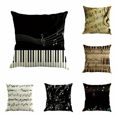 Funic Sofa Waist Throw Pillow Case, Musical Note Painting Linen Cushion Cover Ho