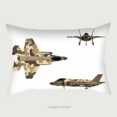 Custom Micro Fiber Pillow Case Protector Fighter Jet War Plane In Flat Style Mil