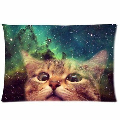 Home Decor Custom Cat Galaxy Space Zippered Pillow Case Twin Sides 20x30 Inch