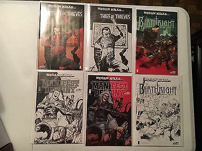 Negan Kills Comic Skybound Set Color & Sketch! 6 Total Nm Condition!