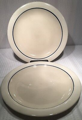 "Lot Of 2 ~ 10 3/4"" Gibson Housewares Beige Dinner Plate With Blue Stripe ~ Ec"