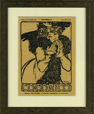 Rare Original Wood Block 1899 Cocorico Issue No. 24 Cover – By Alphonse Mucha