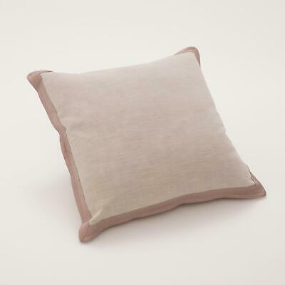 Soft Lilac Purple Elegant Neutral Throw Pillow   Natural Linen Leather Frame