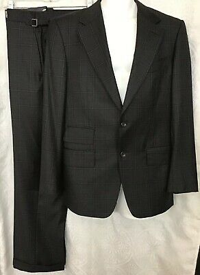 Tom Ford Two-piece Suit Charcoal Plaid Wool Size 38 R