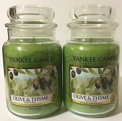 Yankee Candle Olive & Thyme Green Scented Wax Candles 22 Oz. Each 2 Count Set