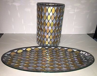 "Yankee Candle ""silver/gold Mosaic"" Glass Jar Candle Holder & Oval Plate New Box"