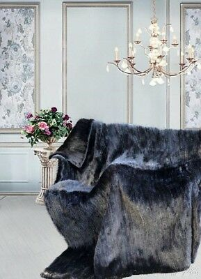 Brand New Knitted Black Mink Fur Blanket Rug Throw Bedspread Clearance Sale