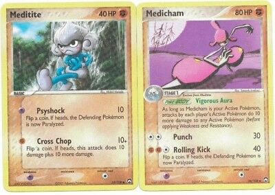 Pokemon Cards: Medicham 34/108 & Meditite 55/108 Power Keepers Evolution Set! GD