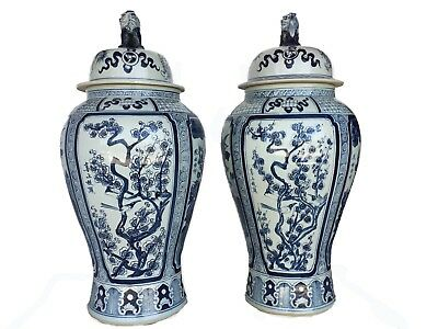 """Mansion Size Chinoiserie B & W Porcelain Ginger Jars - A Pair 35.5"""" H"""