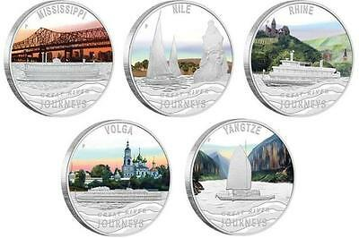 Tuvalu 2010 $1х5 Great River Journeys 5 X 1 Oz Silver Proof Coin Set + Free Gift