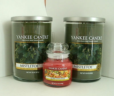 2 Yankee Candle 22 Oz. Tumbler 2 Wick Mistletoe & 3.7 Oz Home For The Holidays