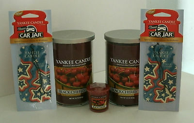 2 Yankee Candle 22 Oz. Tumbler Jars Black Cherry, 2 Car Jar & Votive Free Ship