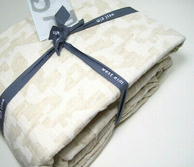 West Elm Light Pale Khaki Brown Tossed Geo Full Queen Duvet Cover 2 Shams New