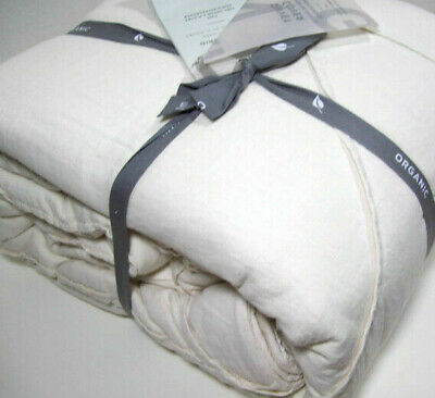 West Elm Cream Ivory Pleated Grid Organic Cotton Full Queen Duvet Cover New
