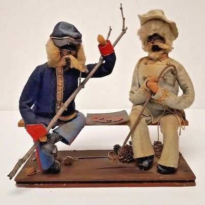 Folk Art Apple Head Doll Yankee + Confederate Soldiers Play Checkers Civil War