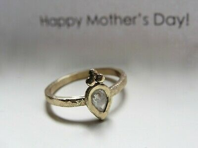 14k Yellow Gold Ring Set With 0.29 Raw Diamond.handmade Very Unique