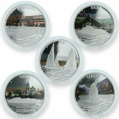Tuvalu Set Of 5 Coins Great River Journeys Proof Silver 2010
