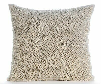 Ecru Decorative Throw Pillow Covers 18x18 Inch, Cotton Linen- Pearl Oyester