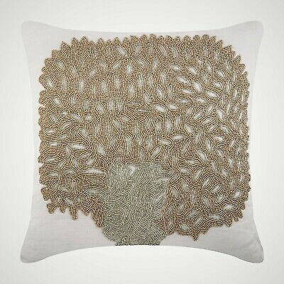 Ivory Decorative Throw Pillow Covers 18x18 Inch, Cotton Linen- Gold Oak Tree
