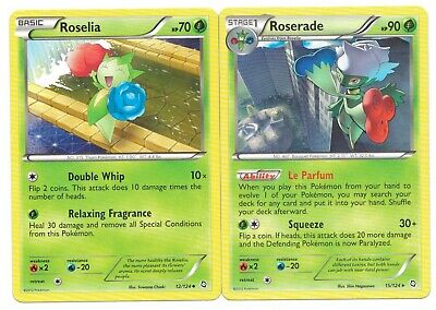 Pokemon Cards: Roserade 15/124 & Roselia 12/124 Dragons Exalted Set Rare! NM