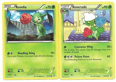 Pokemon Cards: Roserade 14/124 & Roselia 13/124 Dragons Exalted Set! NM