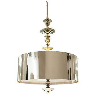 Dramatic Round Metal Shade Silver Pendant | 30 In Chandelier Hanging Spindle