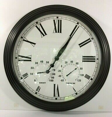 "Pottery Barn Oversized Bronze Clock 27.50"" Outdoor/indoor New Sold Out At Pb"