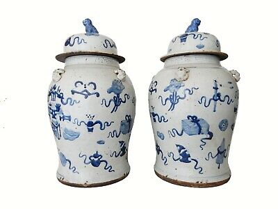"""Superb Large Chinoiserie Blue & White Ginger Jars - A Pair 23"""" H"""