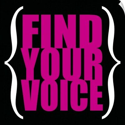 """find Your Voice, Square Pink On Black"" Wall Decal"