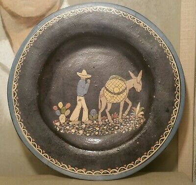 Black Mexican Pottery Dinner Plate Vtg Folk Art Painting Antique South Western